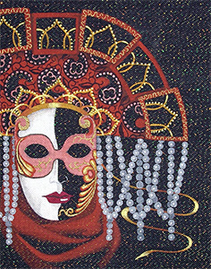 Leigh Designs - Hand-painted Needlepoint Canvases - Sienna Mask