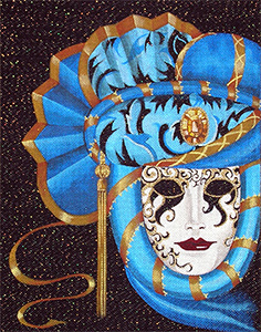 Leigh Designs - Hand-painted Needlepoint Canvases - Luciana Mask