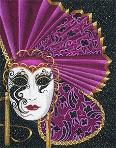 Leigh Designs - Hand-painted Needlepoint Canvases - Allegra Mask