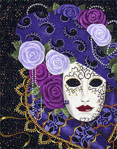 Leigh Designs - Hand-painted Needlepoint Canvases - Belinda Mask