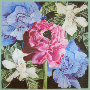Pink Poppy / Purple Cabbage Roses / Gardenias - Hand Painted Needlepoint Canvas by Joy Juarez