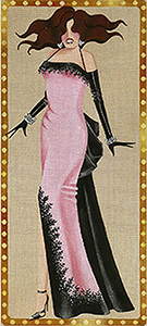 Leigh Designs - Hand-painted Needlepoint Canvases - Femme Fatale Collection - Roxanne