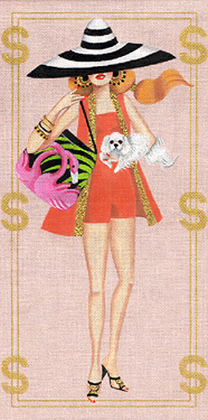 Leigh Designs - Hand-painted Needlepoint Canvases - Gold Diggers - Miami