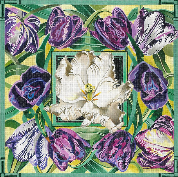Tulip Composition - Hand Painted Needlepoint Canvas by Joy Juarez