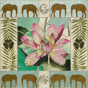 Lotus and Elephants - Hand Painted Needlepoint Canvas by Joy Juarez