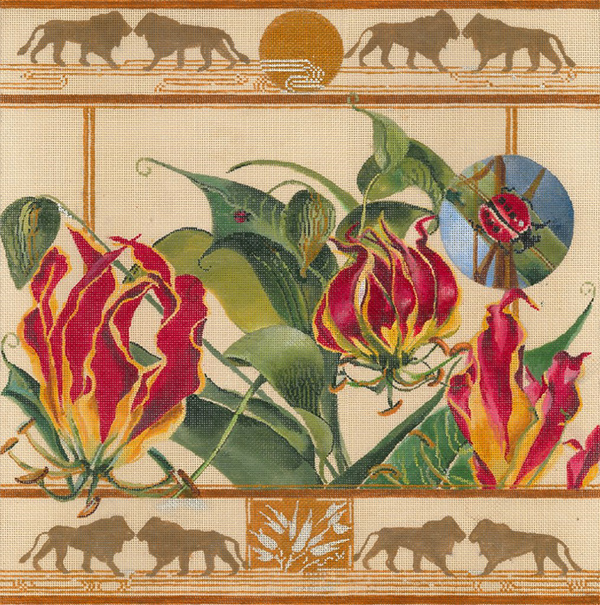 African Gloriosa Lily with Lions - Hand Painted Needlepoint Canvas by Joy Juarez