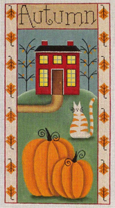 Autumn Folk Banner Hand Painted Canvas from Rebecca Wood