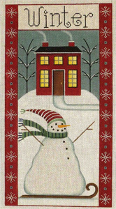 Winter Folk Banner Hand Painted Canvas from Rebecca Wood