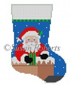 Susan Roberts Needlepoint Designs - Hand-painted Christmas Mini Stocking - Down the Chimney