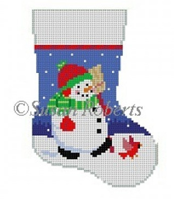 Susan Roberts Needlepoint Designs - Hand-painted Christmas Mini Stocking - Chubby Snowman