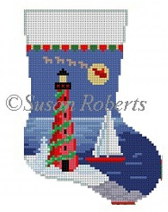 Susan Roberts Needlepoint Designs - Hand-painted Christmas Mini Stocking - Lighthouse