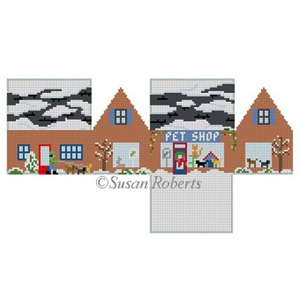 Susan Roberts Needlepoint Designs - Hand-painted Canvas - Pet Shop Mini House