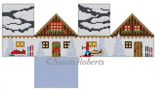 Susan Roberts Needlepoint Designs - Hand-painted Canvas - Ski Chalet Mini House
