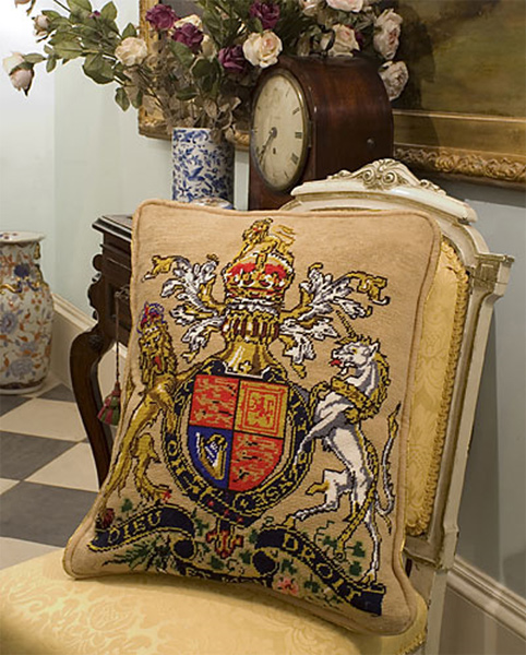 Royal Coat of Arms Needlepoint Cushion Kit from The Purple Tree Collection