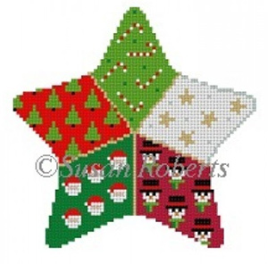 Susan Roberts Needlepoint Designs - Hand-painted Canvas - Patchwork Star