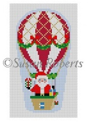 Susan Roberts Needlepoint Designs - Hand-painted Canvas - Hot Air Balloon Santa
