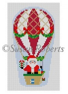 susan roberts needlepoint designs hand painted canvas hot air balloon santa - Strictly Christmas Needlepoint