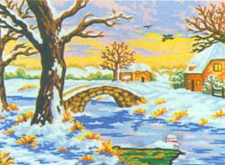 Winter at the Stone Bridge  - Collection d'Art Needlepoint Canvas