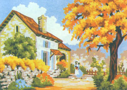 Fall Front Yard - Collection d'Art Needlepoint Canvas