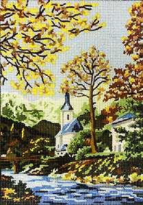 Church by the Stream - Collection d'Art Needlepoint Canvas