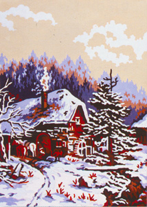 Winter Cabin  - Collection d'Art Needlepoint Canvas