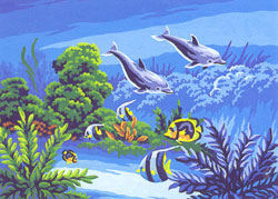 Dolphins  - Collection d'Art Needlepoint Canvas