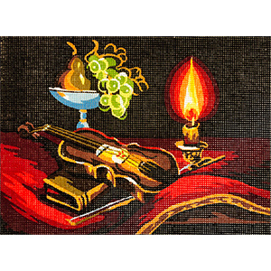 Violin and Candlelight- Collection d'Art Needlepoint Canvas