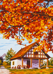 Autumn at the Windmill Workshop - Collection d'Art Needlepoint Canvas