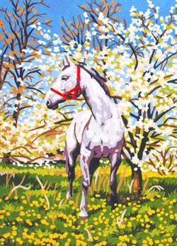 Camouflaged Among the Blossoms  - Collection d'Art Needlepoint Canvas