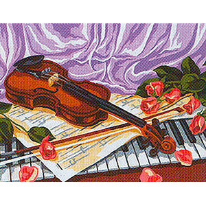 Violin and Roses  - Collection d'Art Needlepoint Canvas