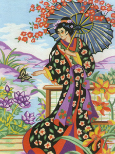 Geisha with Parasol - Collection d'Art Needlepoint Canvas