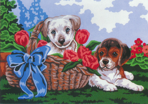 Puppies in a Basket  - Collection d'Art Needlepoint Canvas
