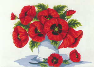 Poppies in Vase  - Collection d'Art Needlepoint Canvas