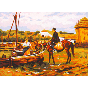 At the Water Trough - Collection d'Art Needlepoint Canvas