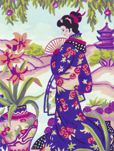 Geisha with Fan  - Collection d'Art Needlepoint Canvas