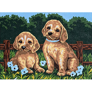Two Puppies  - Collection d'Art Needlepoint Canvas