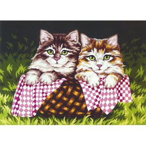 Kittens in a Basket  - Collection d'Art Needlepoint Canvas