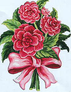 Red & Pink Flower Bouquet  - Collection d'Art Needlepoint Canvas