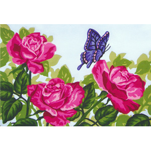 Pink Roses & Butterfly  - Collection d'Art Needlepoint Canvas