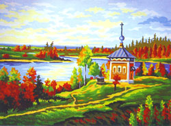Chapel on the River - Collection d'Art Needlepoint Canvas