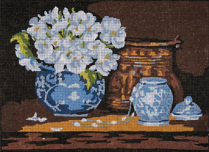 Blue Vase & Flowers  - Collection d'Art Needlepoint Canvas