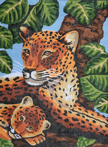 Leopard Mother and Cub  - Collection d'Art Needlepoint Canvas