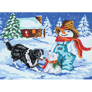 Dog, Snowman and Snowpuppy  - Collection d'Art Needlepoint Canvas