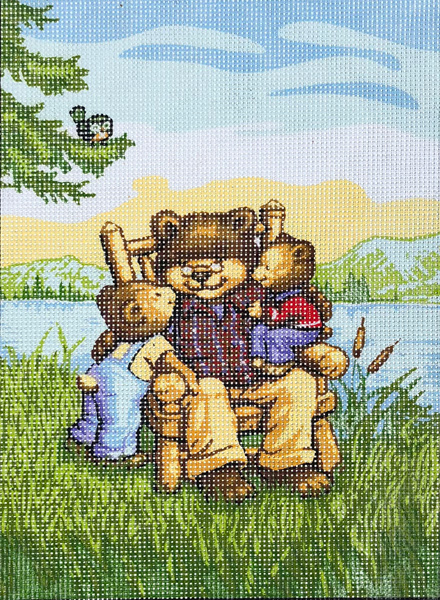 Grandpa Bear & Cubs  - Collection d'Art Needlepoint Canvas