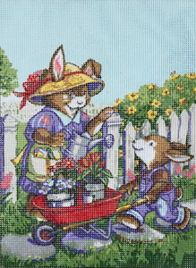 Mrs. Rabbit's Garden Helper  - Collection d'Art Needlepoint Canvas