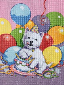 Puppy Birthday Cake & Balloons  - Collection d'Art Needlepoint Canvas
