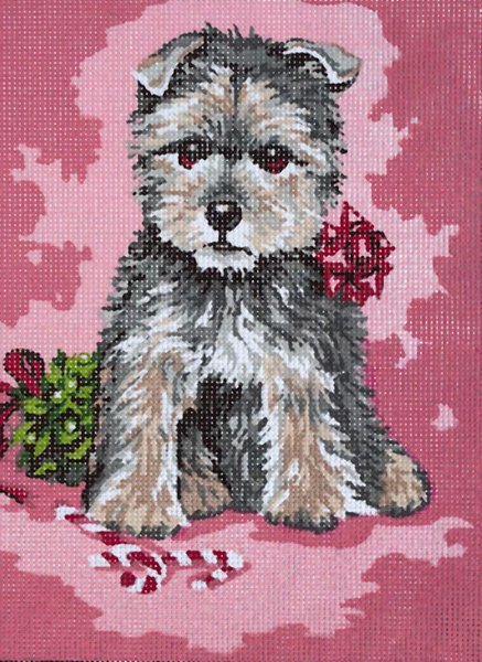 Puppy in Ribbons & Bows  - Collection d'Art Needlepoint Canvas