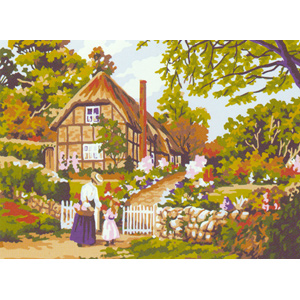 Thatched Roof Cottage  - Collection d'Art Needlepoint Canvas