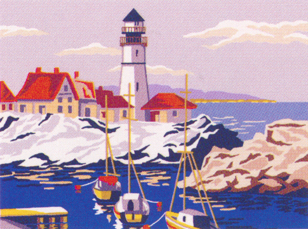 Light House Scene  - Collection d'Art Needlepoint Canvas