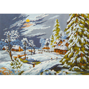 Moonlight Snow Scene  - Collection d'Art Needlepoint Canvas